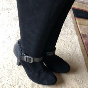 """Faux suede black boots with buckles 3 1/2"""" heel"""